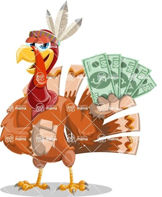 Indian Turkey Cartoon Vector Character AKA Snoody the Native Turkey - Show me the money