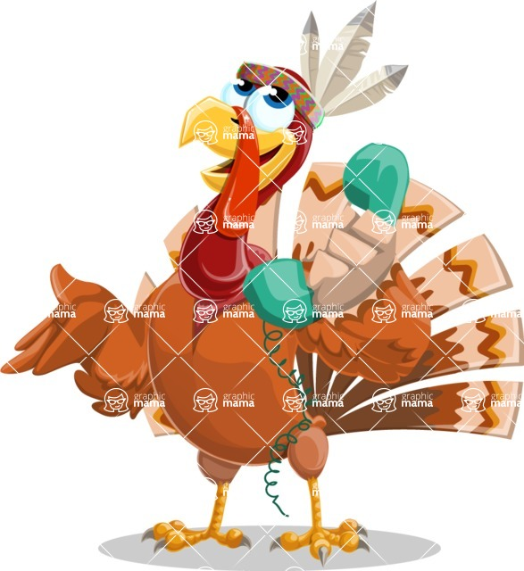 Indian Turkey Cartoon Vector Character AKA Snoody the Native Turkey - Support