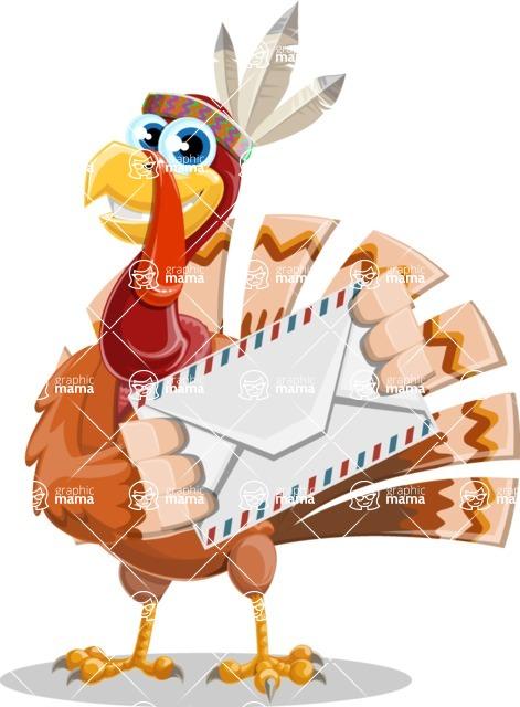 Indian Turkey Cartoon Vector Character AKA Snoody the Native Turkey - Letter