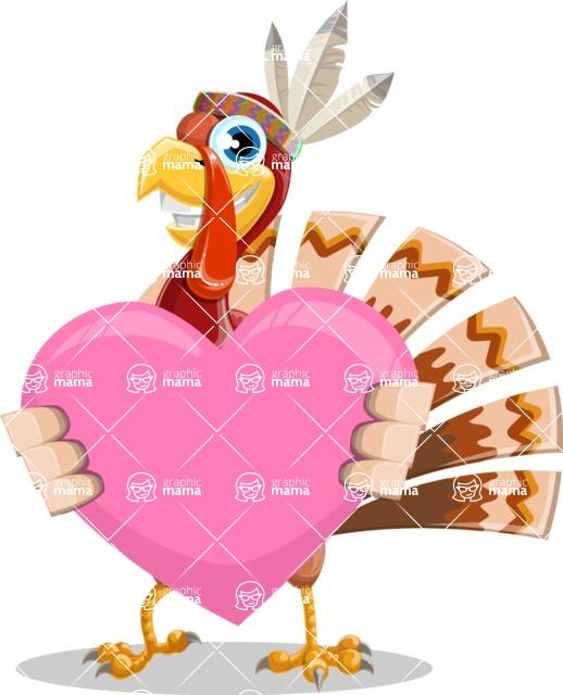 Indian Turkey Cartoon Vector Character AKA Snoody the Native Turkey - Love