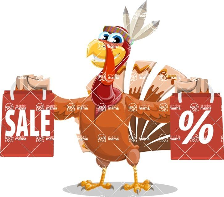Indian Turkey Cartoon Vector Character AKA Snoody the Native Turkey - Sale 2
