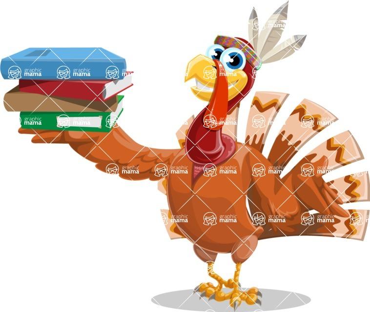 Indian Turkey Cartoon Vector Character AKA Snoody the Native Turkey - Book 2