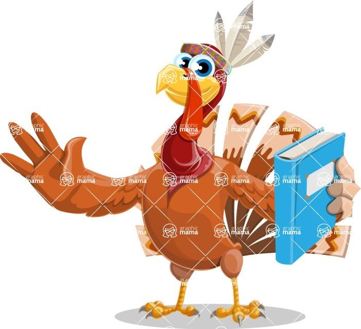 Indian Turkey Cartoon Vector Character AKA Snoody the Native Turkey - Book 3