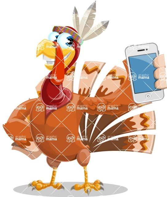 Indian Turkey Cartoon Vector Character AKA Snoody the Native Turkey - iPhone