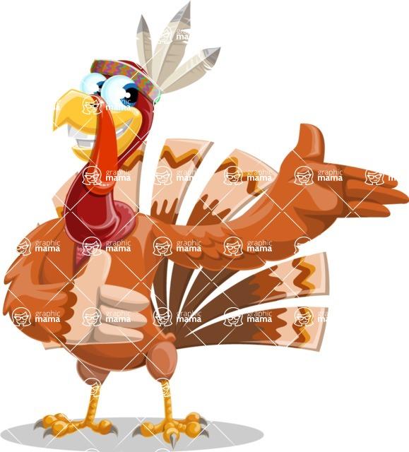 Indian Turkey Cartoon Vector Character AKA Snoody the Native Turkey - Showcase