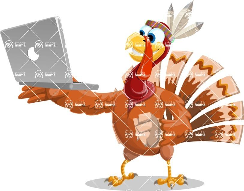 Indian Turkey Cartoon Vector Character AKA Snoody the Native Turkey - Laptop 1