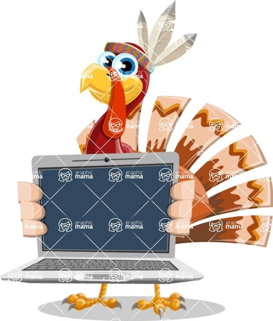 Indian Turkey Cartoon Vector Character AKA Snoody the Native Turkey - Laptop 2