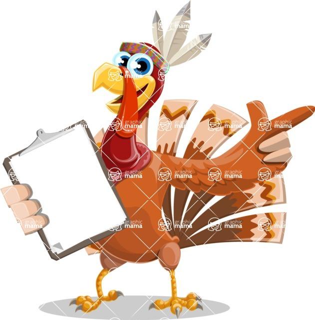 Indian Turkey Cartoon Vector Character AKA Snoody the Native Turkey - Notepad 1