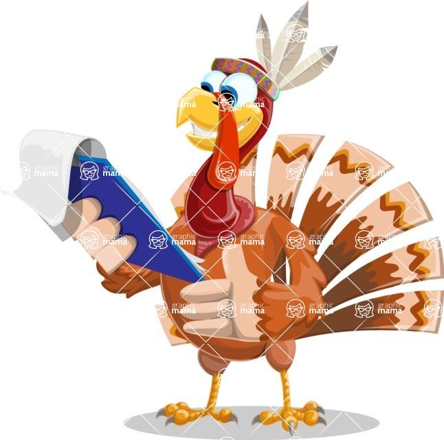 Indian Turkey Cartoon Vector Character AKA Snoody the Native Turkey - Notepad 2