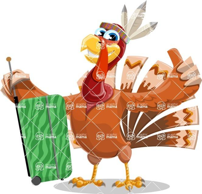 Indian Turkey Cartoon Vector Character AKA Snoody the Native Turkey - Travel 1