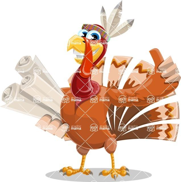 Indian Turkey Cartoon Vector Character AKA Snoody the Native Turkey - Plans