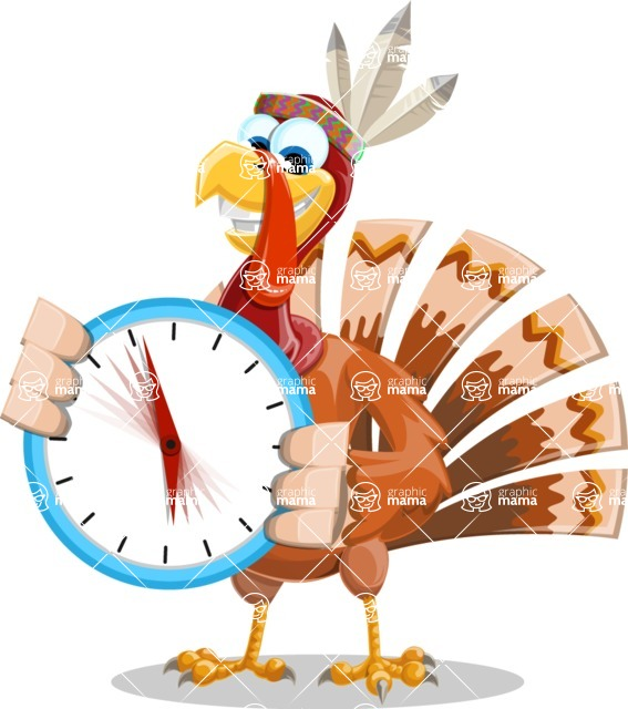 Indian Turkey Cartoon Vector Character AKA Snoody the Native Turkey - Time is yours