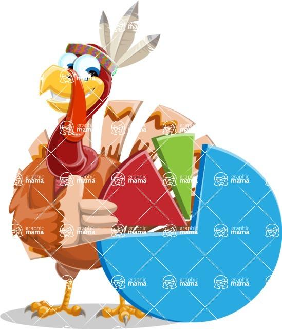 Indian Turkey Cartoon Vector Character AKA Snoody the Native Turkey - Chart