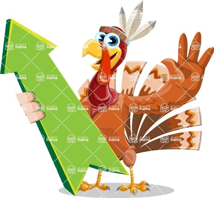Indian Turkey Cartoon Vector Character AKA Snoody the Native Turkey - Pointer 1