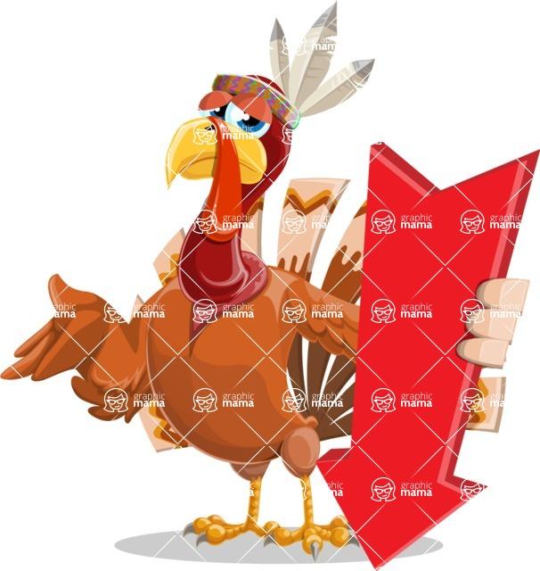 Indian Turkey Cartoon Vector Character AKA Snoody the Native Turkey - Pointer 3