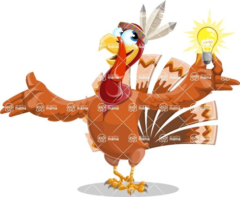 Indian Turkey Cartoon Vector Character AKA Snoody the Native Turkey - Idea