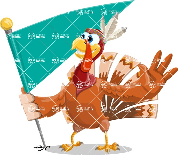 Indian Turkey Cartoon Vector Character AKA Snoody the Native Turkey - Checkpoint