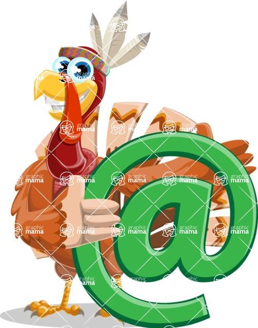 Indian Turkey Cartoon Vector Character AKA Snoody the Native Turkey - Email