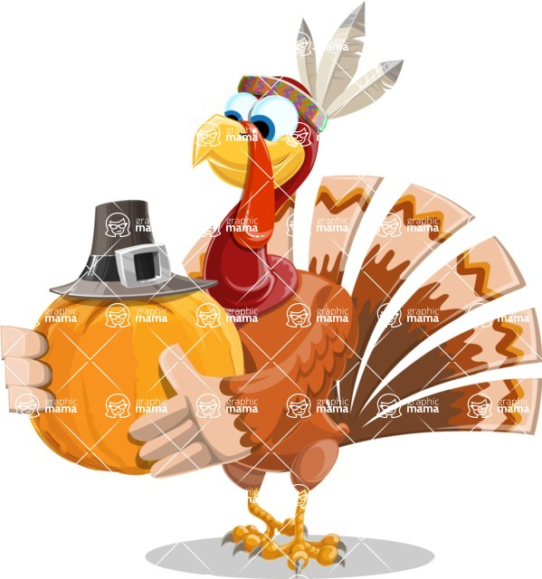 Indian Turkey Cartoon Vector Character AKA Snoody the Native Turkey - Pumpkin 3