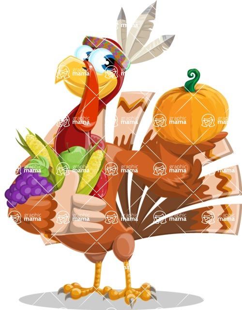Indian Turkey Cartoon Vector Character AKA Snoody the Native Turkey - Veggie handful