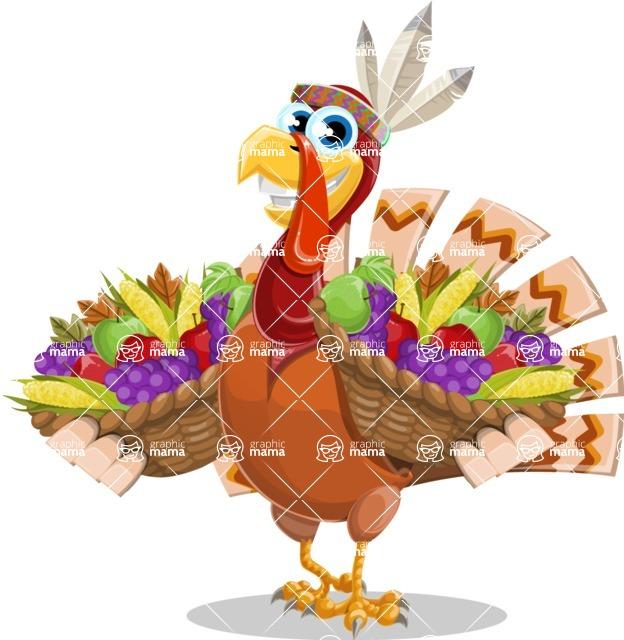 Indian Turkey Cartoon Vector Character AKA Snoody the Native Turkey - Basket 2