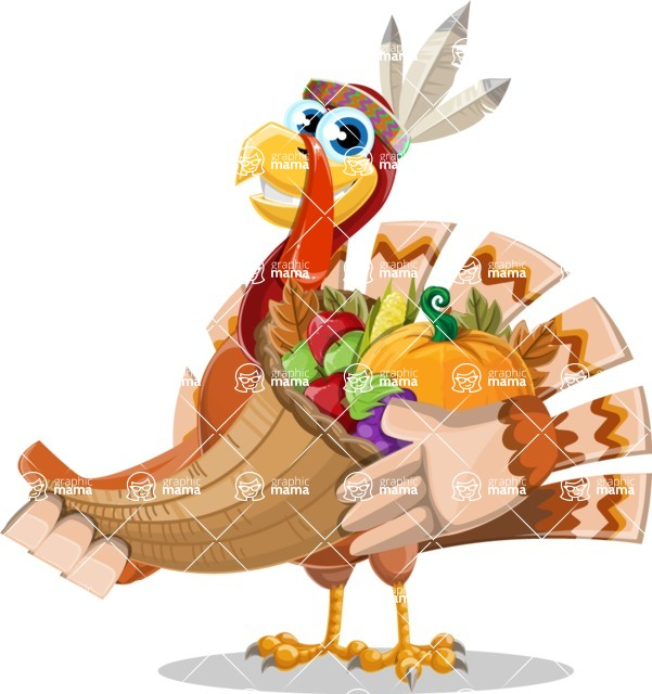 Indian Turkey Cartoon Vector Character AKA Snoody the Native Turkey - Basket 4