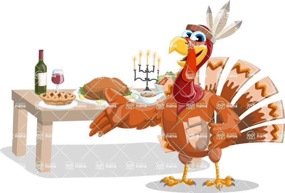 Indian Turkey Cartoon Vector Character AKA Snoody the Native Turkey - Thanksgiving feast