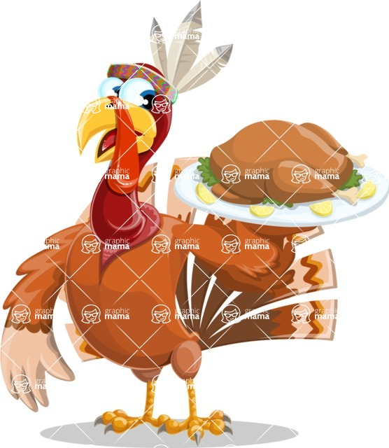 Indian Turkey Cartoon Vector Character AKA Snoody the Native Turkey - Thanksgiving turkey