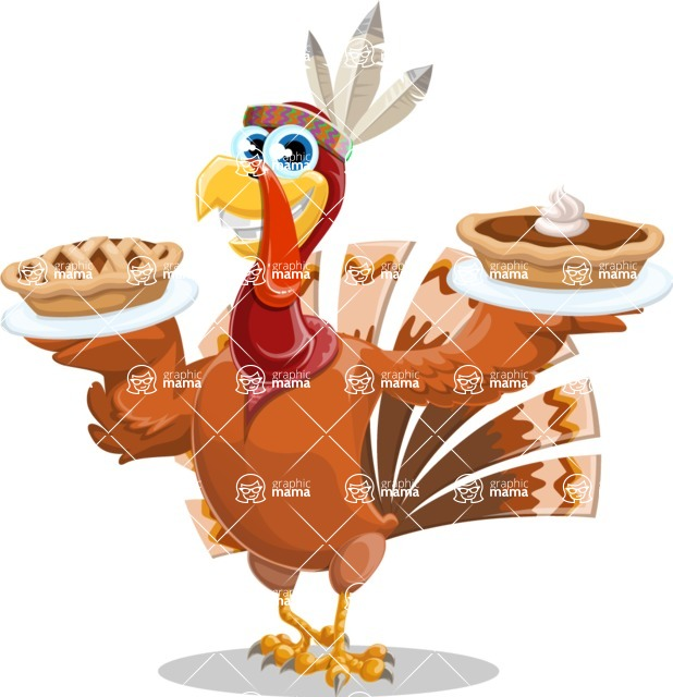 Indian Turkey Cartoon Vector Character AKA Snoody the Native Turkey - Pumpkin pies