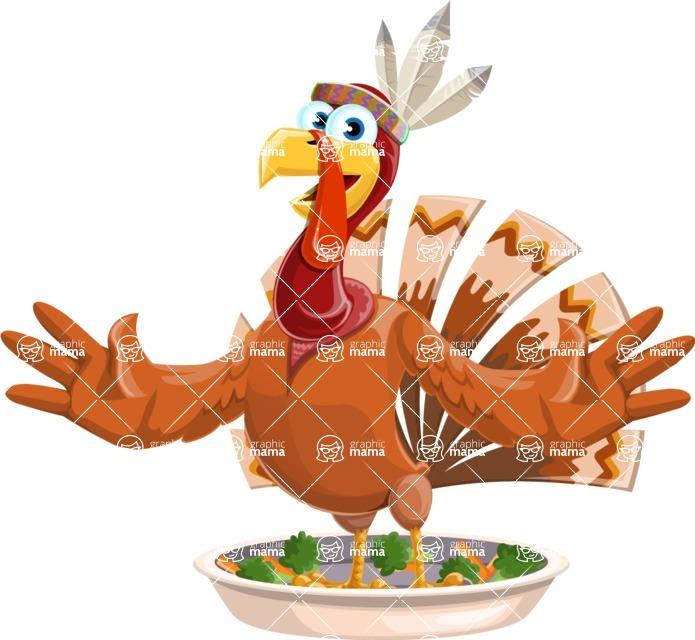Indian Turkey Cartoon Vector Character AKA Snoody the Native Turkey - Oh no!