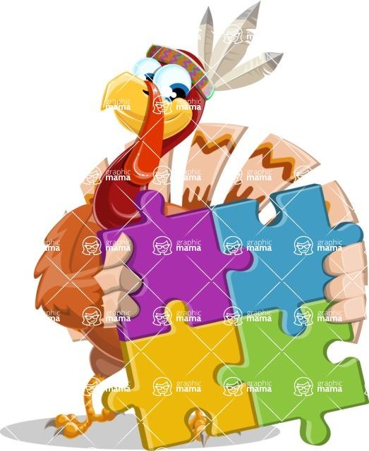 Indian Turkey Cartoon Vector Character AKA Snoody the Native Turkey - Puzzle