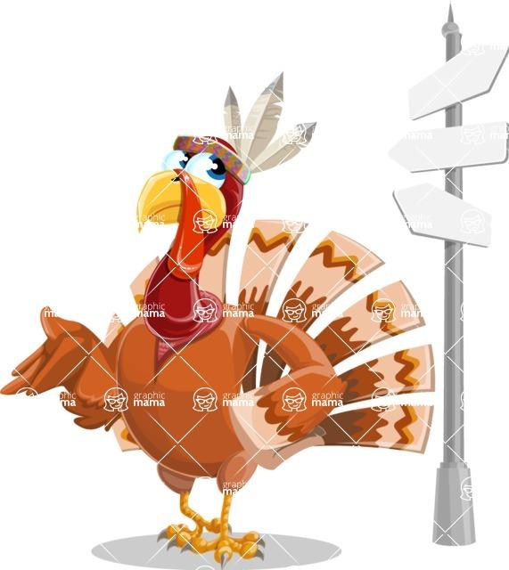 Indian Turkey Cartoon Vector Character AKA Snoody the Native Turkey - Crossroad
