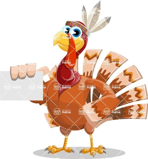Indian Turkey Cartoon Vector Character AKA Snoody the Native Turkey - Sign 1