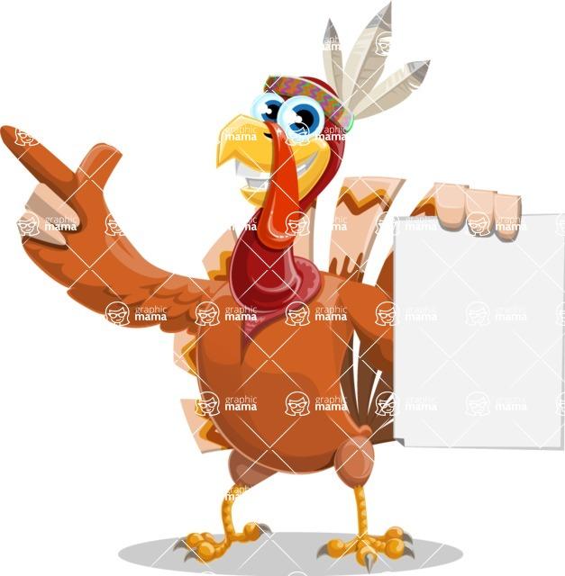 Indian Turkey Cartoon Vector Character AKA Snoody the Native Turkey - Sign 2