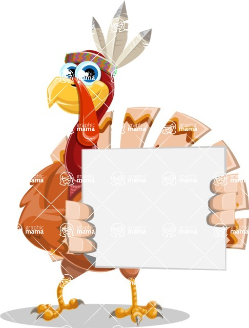 Indian Turkey Cartoon Vector Character AKA Snoody the Native Turkey - Sign 4