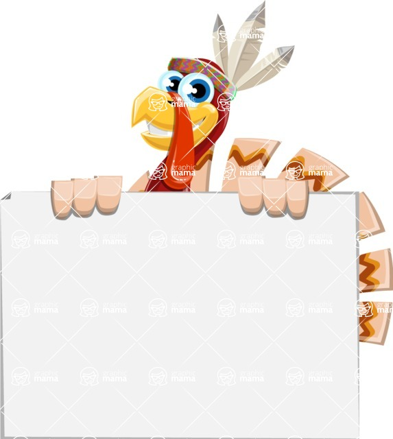 Indian Turkey Cartoon Vector Character AKA Snoody the Native Turkey - Sign 6
