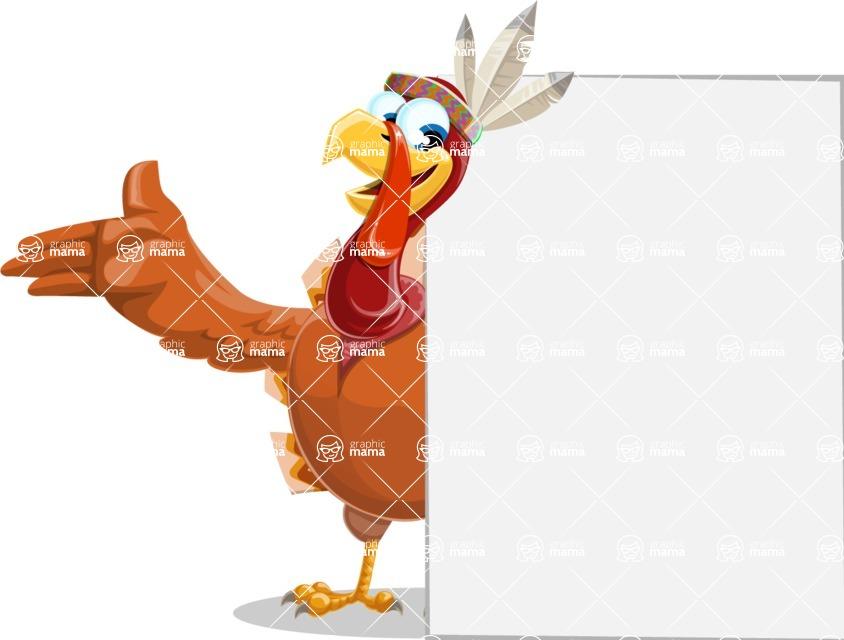 Indian Turkey Cartoon Vector Character AKA Snoody the Native Turkey - Sign 7