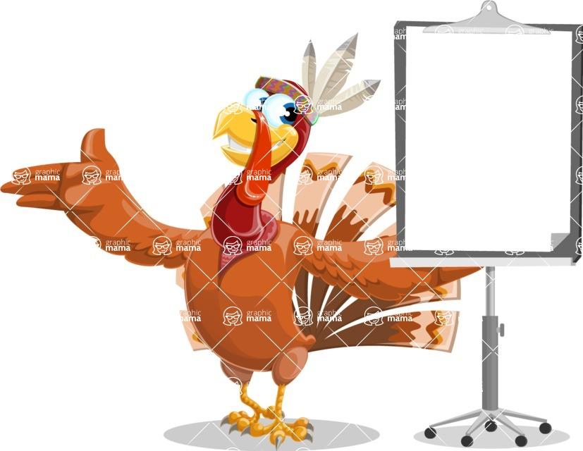 Indian Turkey Cartoon Vector Character AKA Snoody the Native Turkey - Presentation 1