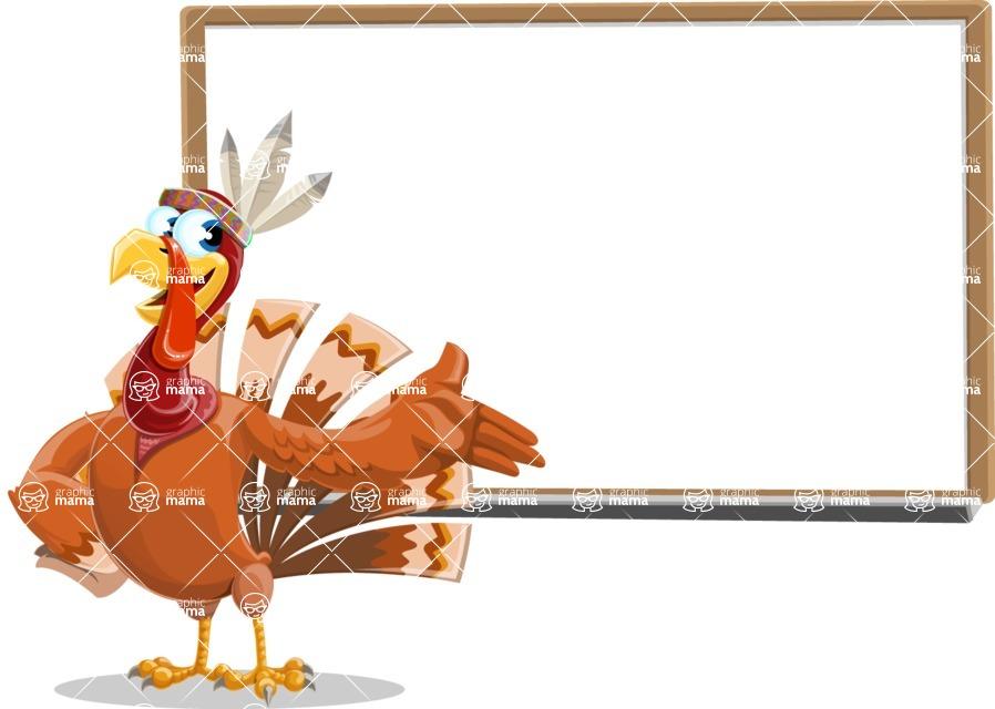Indian Turkey Cartoon Vector Character AKA Snoody the Native Turkey - Presentation 3