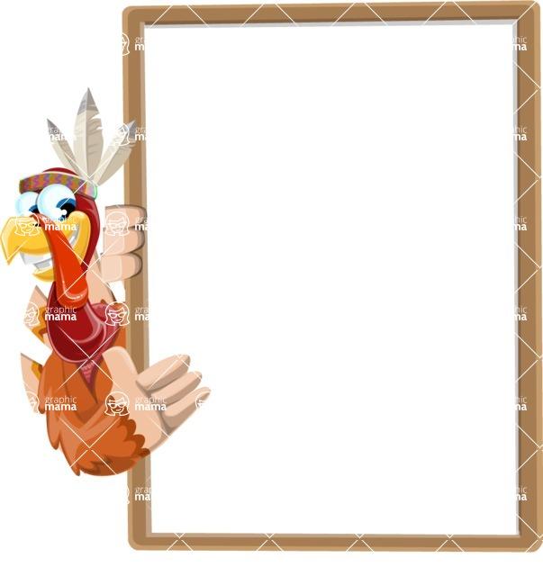 Indian Turkey Cartoon Vector Character AKA Snoody the Native Turkey - Presentation 4
