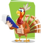 Indian Turkey Cartoon Vector Character AKA Snoody the Native Turkey - Shape 10