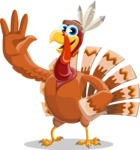 Indian Turkey Cartoon Vector Character AKA Snoody the Native Turkey - Hello