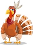 Indian Turkey Cartoon Vector Character AKA Snoody the Native Turkey - Bored