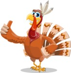 Indian Turkey Cartoon Vector Character AKA Snoody the Native Turkey - Thumbs Up