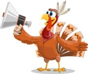 Indian Turkey Cartoon Vector Character AKA Snoody the Native Turkey - Loudspeaker