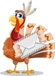 Indian Turkey Cartoon Vector Character AKA Snoody the Native Turkey - Letter
