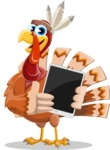 Indian Turkey Cartoon Vector Character AKA Snoody the Native Turkey - iPad 1