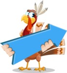 Indian Turkey Cartoon Vector Character AKA Snoody the Native Turkey - Pointer 2