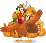 Indian Turkey Cartoon Vector Character AKA Snoody the Native Turkey - Pumpkin 4
