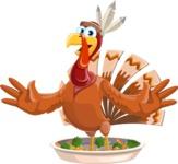 Indian Turkey Cartoon Vector Character AKA Snoody the Native Turkey - Oh no!